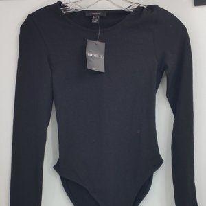 NWT Knit Long Sleeve Bodysuit Black Crew Size S
